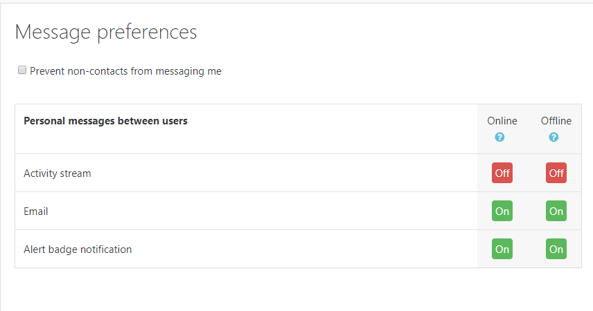 Message preferences 2