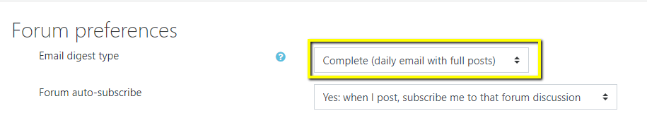 Screen shot of forum preferences window